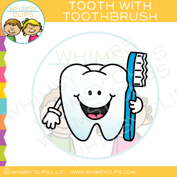 Tooth With Toothbrush Clip Art