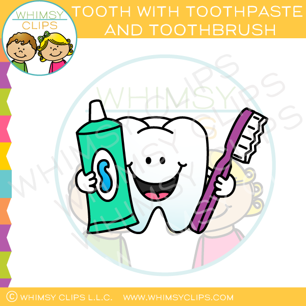 Tooth With Toothpaste And Toothbrush Clip Art