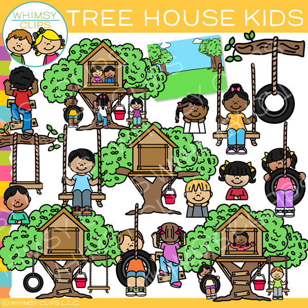 Kids in a Tree House Clip Art