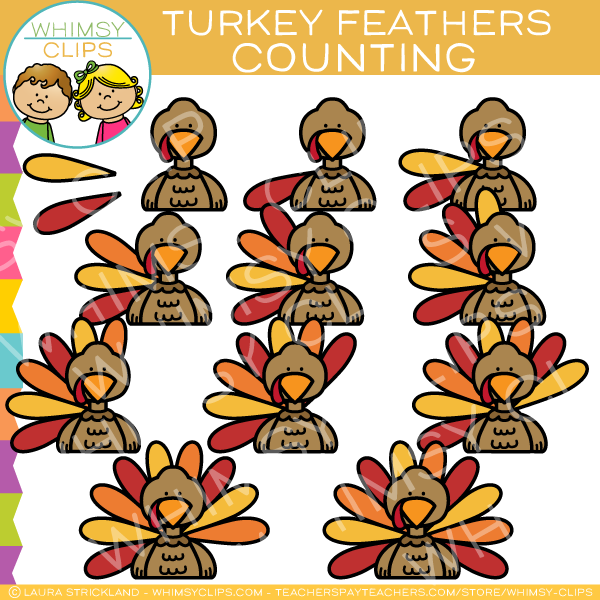Counting Turkey Feathers Clip Art