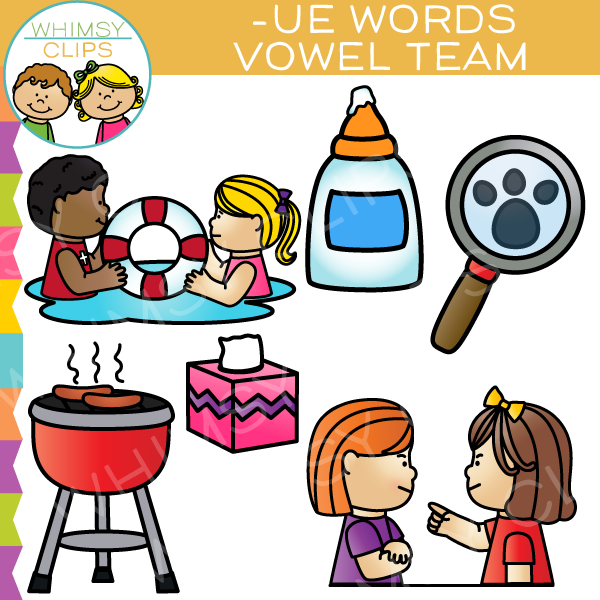 Vowel Teams Clip Art -UE Words , Images & Illustrations | Whimsy Clips