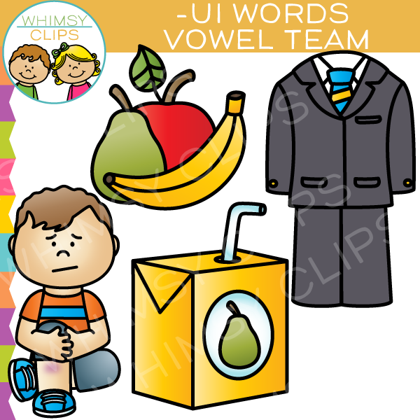 Vowel Teams Clip Art -UI Words , Images & Illustrations | Whimsy Clips