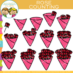 Counting Roses Valentine's Day Clip Art