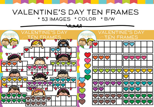 Valentine's Day Ten Frames Clip Art