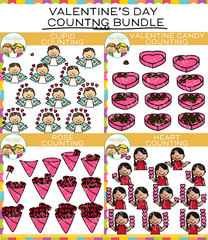 Valentine Counting Clip Art Bundle