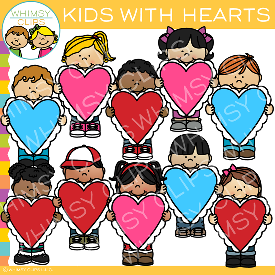 Valentine's Day Kids and Hearts Clip Art