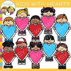 Valentine's Day Kids With Hearts Clip Art