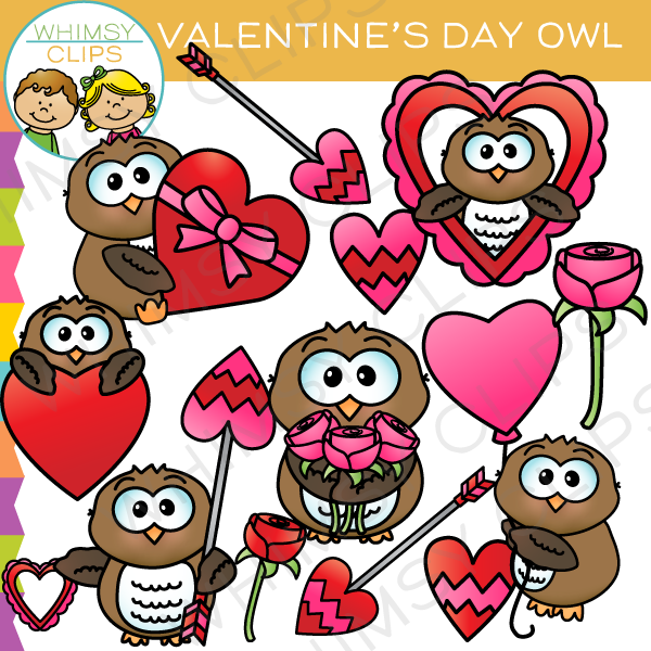Valentine S Day Owl Clip Art Images Illustrations Whimsy Clips