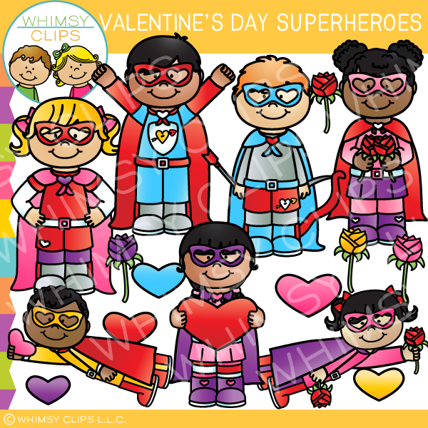 Valentine's Day Superhero Clip Art