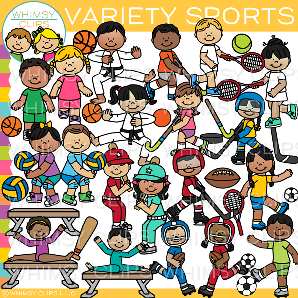 Kids Variety Sports Clip Art