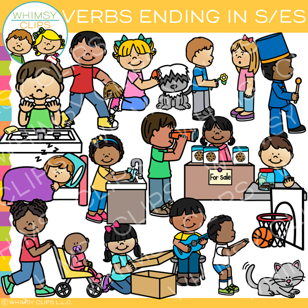 Verbs Ending in S and ES Clip Art