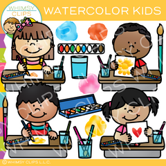 Kids Watercolor Painting Clip Art