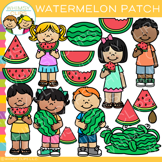 At the Watermelon Patch Clip Art