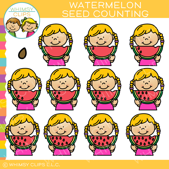 Watermelon Summer Counting Clip Art