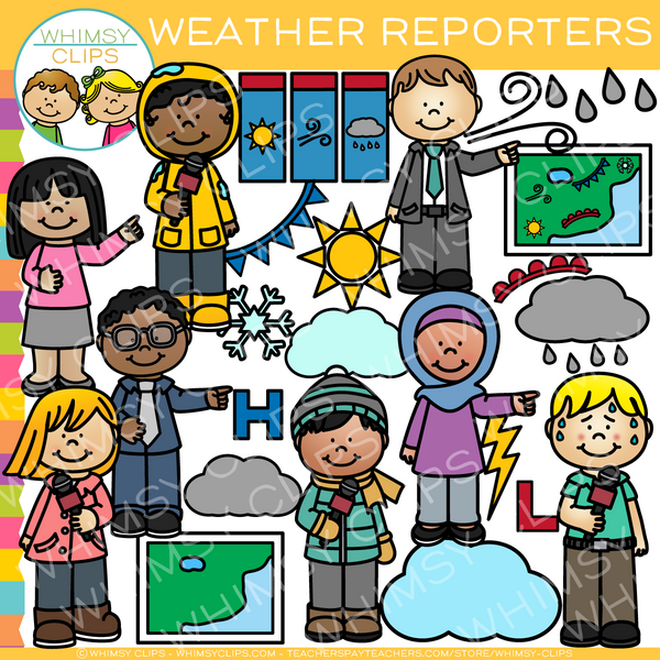 Kids Weather Reporters Clip Art