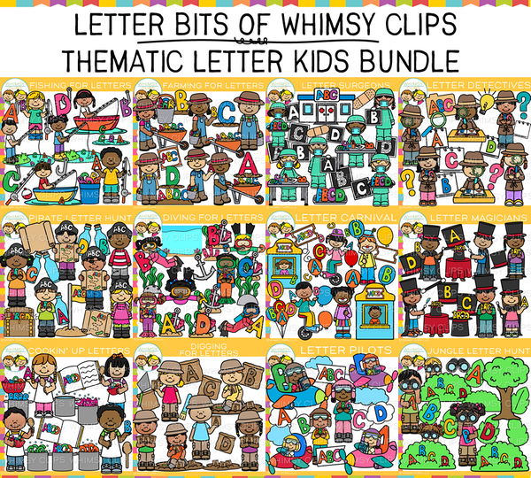 Letter Bits of Whimsy Clips: Thematic Letter Kids Clip Art Bundle