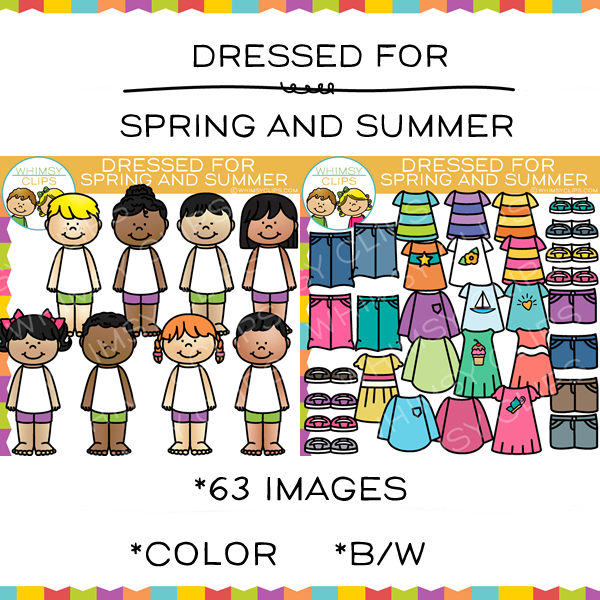 Kids Dress for Spring and Summer Clip Art