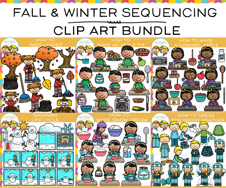 Fall and Winter Sequencing Clip Art Bundle