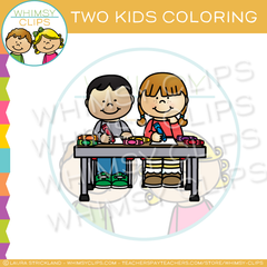 Two Kids Coloring Clip Art