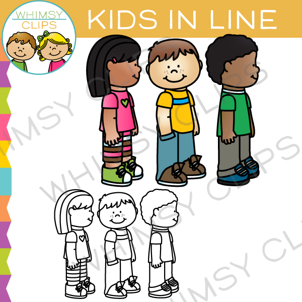 School Kids in Line Clip Art