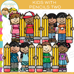 Kids with Pencils Writing Clip Art