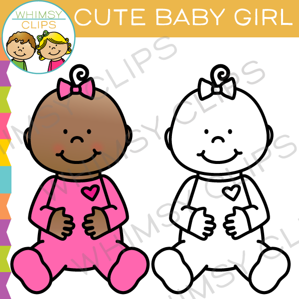 Cute Baby Girl Wearing Pink Clip Art