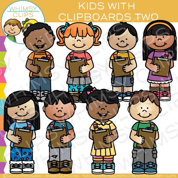 Kids with Clipboards Clip Art - Set Two