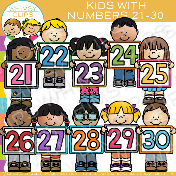 Kids Number Clip Art - Set Three , Images & Illustrations | Whimsy Clips