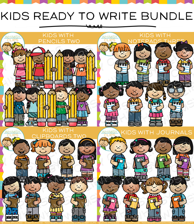 School Kids Writing Clip Art