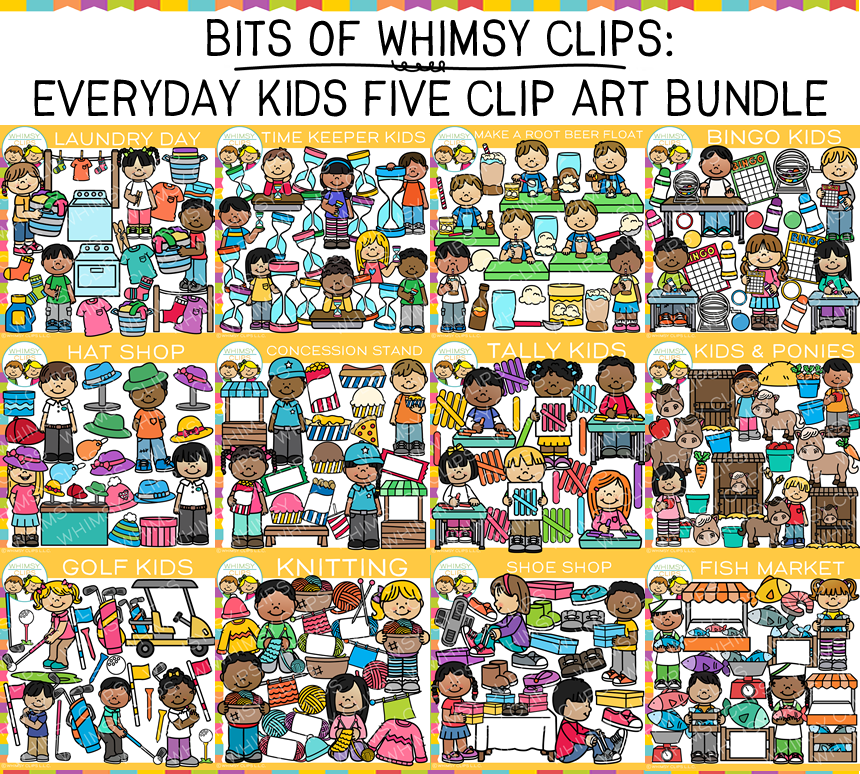 Bits of Whimsy Clips: Everyday Kids Clip Art Five GROWING Bundle