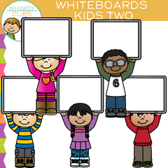 Kids with Whiteboards Clip Art