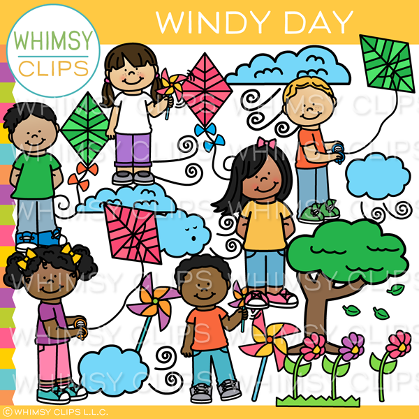 Windy Spring Day Clip Art