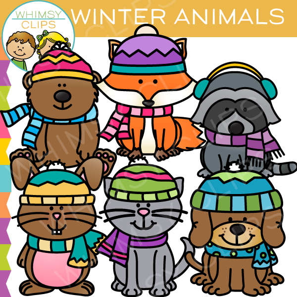Cute Winter Animals Clip Art