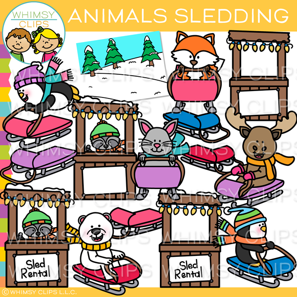 Winter Animals Sledding Clip Art