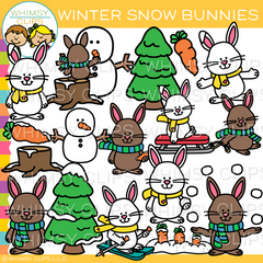 Winter Snow Bunnies Clip Art