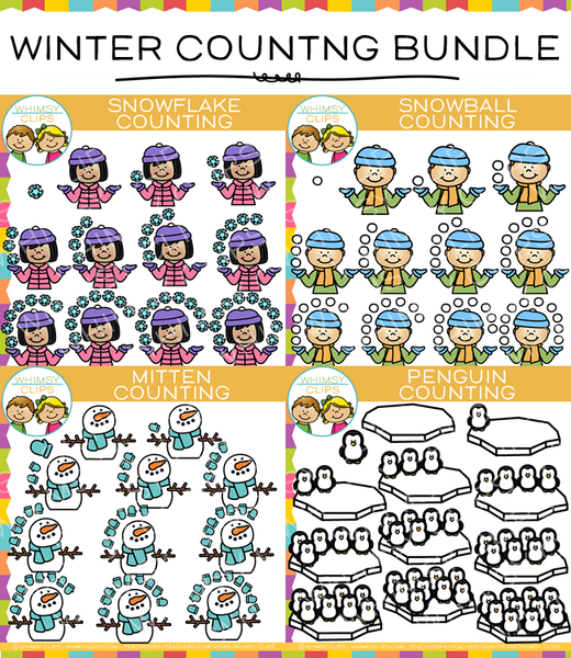 Winter Counting Clip Art Bundle