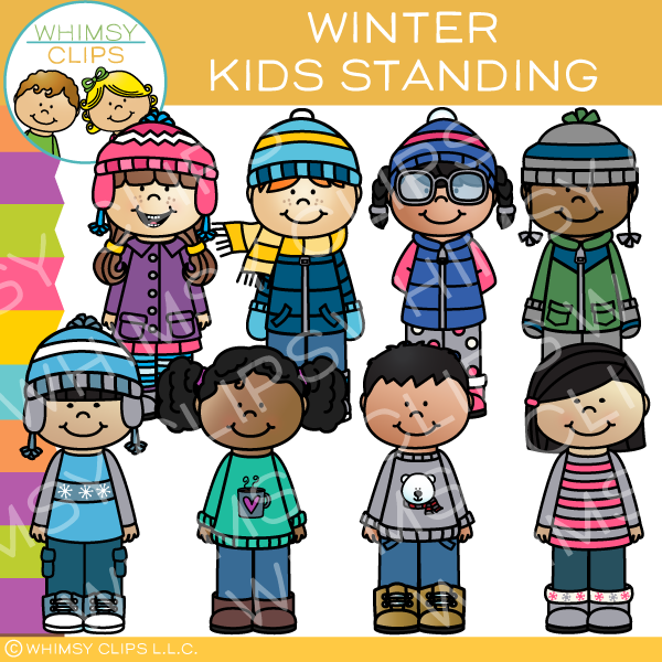 Kids Standing Clip Art - Winter Edition