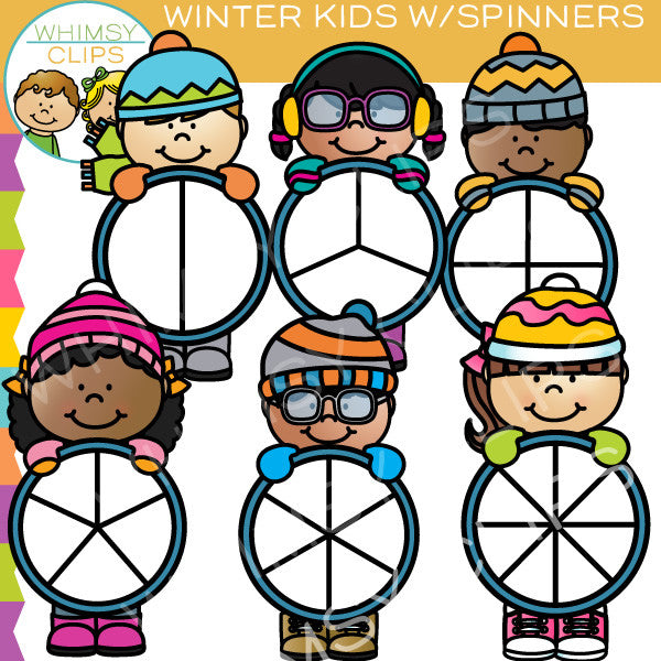 Winter Kids Spinners Clip Art