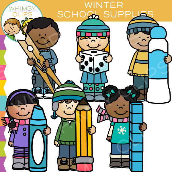 Kids With Winter School Supplies Clip Art