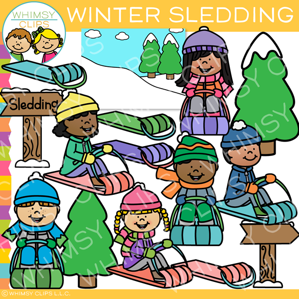 Kids Winter Sledding Clip Art