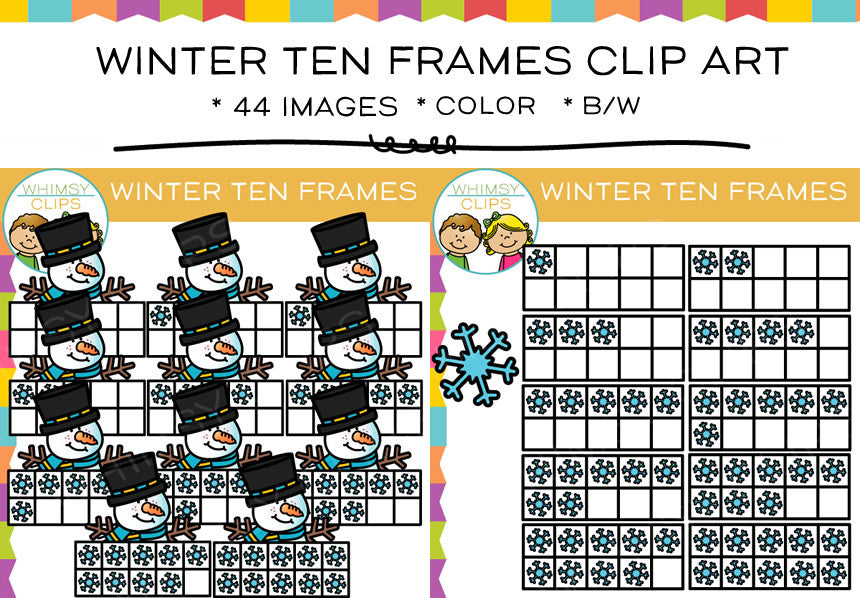 Winter Ten Frames Clip Art , Images & Illustrations | Whimsy Clips