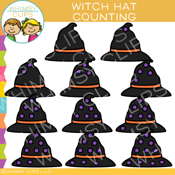 Witch Hat Counting Clip Art