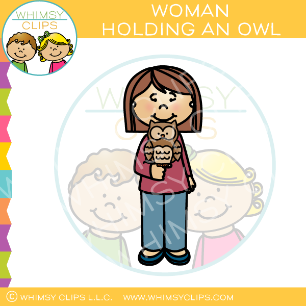 Woman Holding an Owl Clip Art