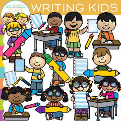 Writing School Kids Clip Art