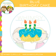 Yellow Blue Birthday Cake Clip Art
