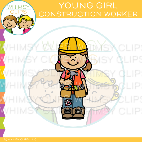 Young Girl Construction Worker Clip Art
