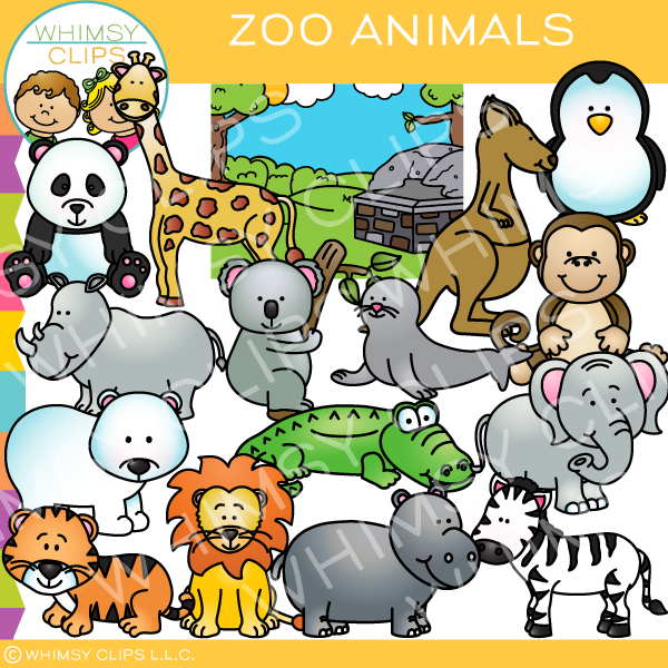 Fun Zoo Animals Clip Art , Images & Illustrations | Whimsy ...