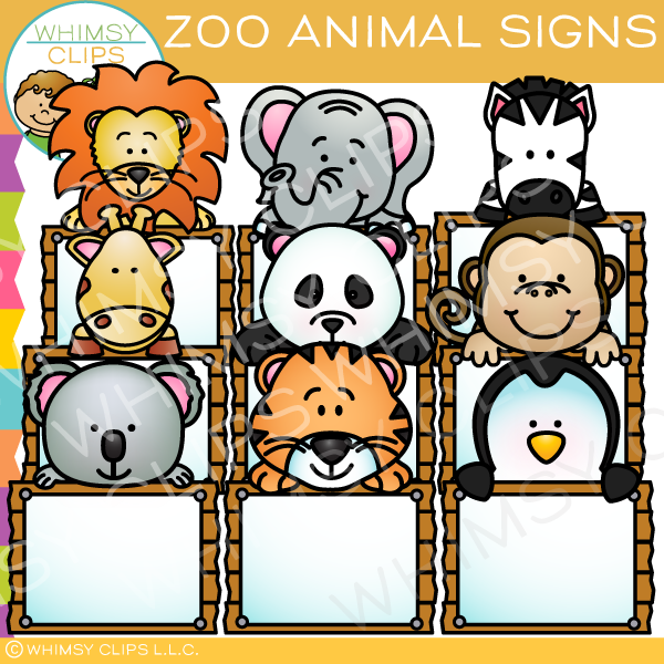 Zoo Animal Signs Clip Art