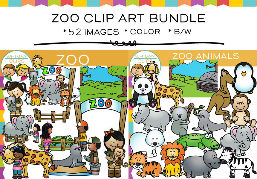 zoo clip art bundle images illustrations whimsy clips rh whimsyclips com clip art zoo pictures clip art zoo animals pictures