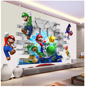 Super Mario Bros Kids Removable Wall Sticker Decals for Boy Bedroom Living Room - Mural Art
